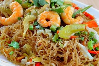 Pancit-Bihon with shrimp