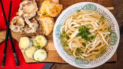 Udon Noodle Broth with Tempura Veg