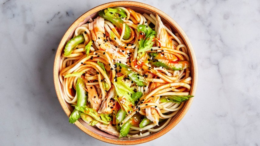 udon-with-chicken-and-garlicky-peanut-dressing