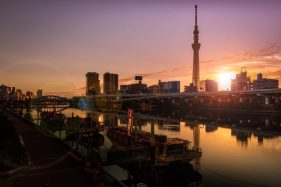The gorgeous sunrise in Tokyo sky tree,